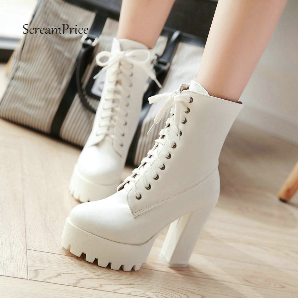 Fashionable Women Martin Boots Thick High Heel Ankle Boots Lace Up Platform Winter Woman Shoes White Black Red 2018 New samool 2017 new arrival women boots lace up martin boots women ankle fur boots brand winter women shoes female high heel shoes page 9