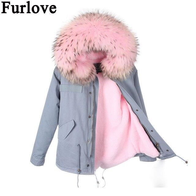 Furlove Parkas For Women Winter Pink Coat Real Large Raccoon Fur Collar Thicken Cotton Padded Jacket Outerwear Female Brand цены онлайн