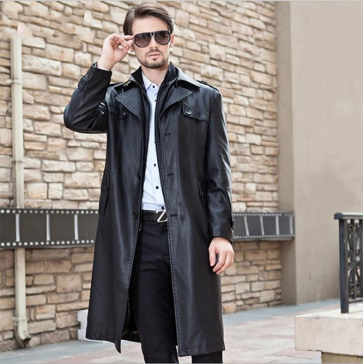 2019 Winter new Men long Double collar Detachable leather jacket mens sheepskin overcoat male Windbreaker Fashion   trench   coat