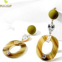 Форзаце 925 пробы серебро геометрический кубический цирконий длинные серьги для Для женщин золото мотаться серьги, ювелирные изделия преуве...