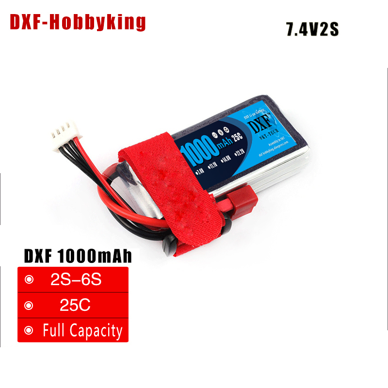 2017 DXF RC <font><b>Lipo</b></font> Battery 7.4V <font><b>1000mAh</b></font> <font><b>2S</b></font> 25C <font><b>Lipo</b></font> Battery Rechargeable Battery Pack JST Plug T Pluy for RC Car Truck Truggy image