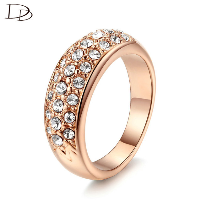 Clic Charm Rose Gold Color Rhinestones Studded Finger Rings Simple Wedding For Women Engagement Bague18kr007