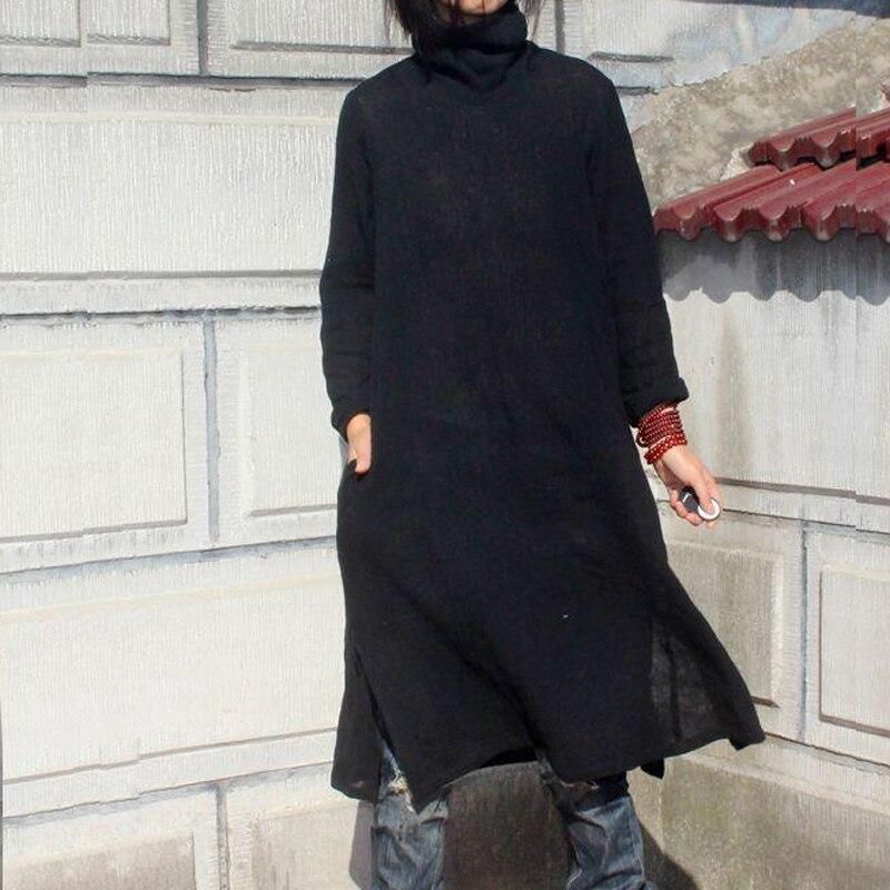 2016 hHot Satış Qadınlar Payız Qış Kətan Pambıq Vestidos - Qadın geyimi - Fotoqrafiya 2