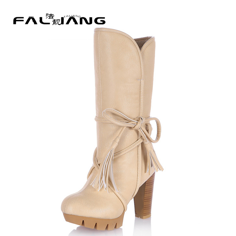 ФОТО 2017 New Fashion Women Warm Snow Boots winter women riding boots female high heels thick heel women's boots lace up high boots