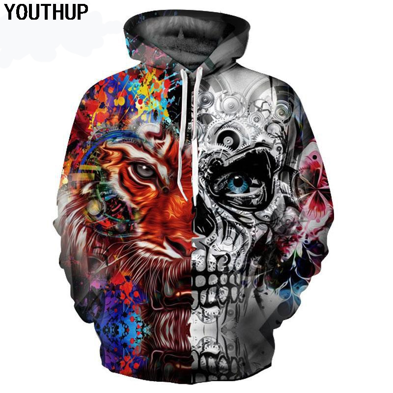 YOUTHUP Men 3d Hoodies Skull Tiger 3D Print Hooded Sweatshirts For Men Plus Size 5XL Cool Hoodies 3d Pullover Men Tracksuits