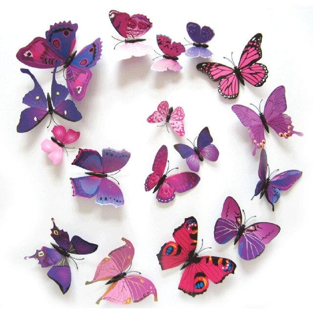 12 шт./компл. красивая искусство 3D многоцветной пвх магнит бабочки стикер стены для тв стены детей стене спальни украшения дома