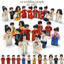 12pcs blocks American Chinese wedding sets gift style family model building blocks Comeplite with legoed figures toys(China)