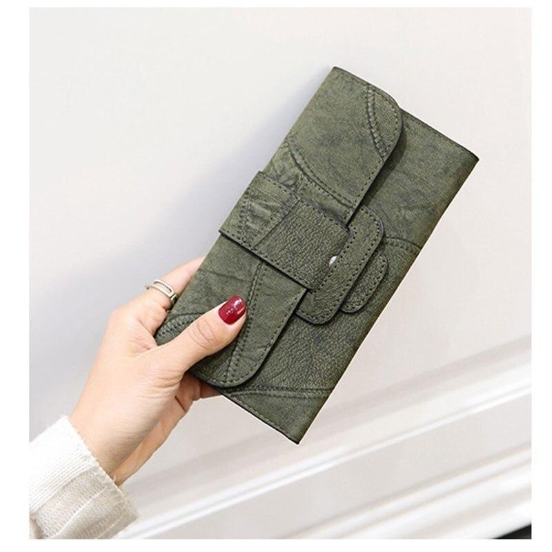 Tonny Kizz Fashion Women Wallet Matte Leather Lady Vintage Long Purse Patchwork Suede Leather Wallet Porte Feuille Femme Clutch