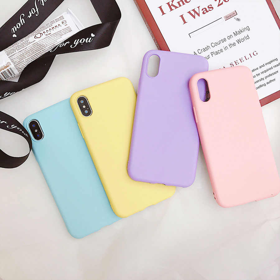 Funda de teléfono mate para iPhone 7 Plus 6 6s 8X5 5S SE XR XS MAX Simple Color sólido ultradelgado funda trasera de TPU suave Color caramelo