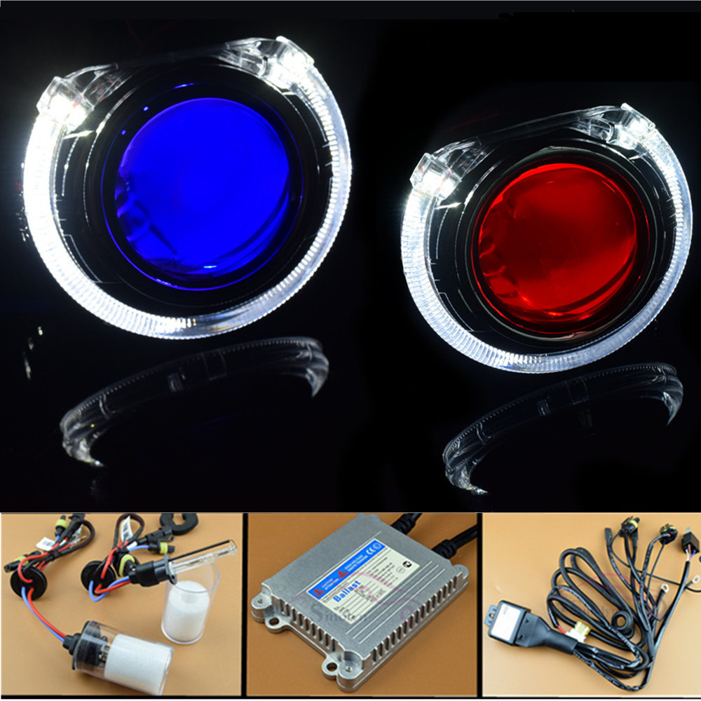 Sinolyn Led Angel Eyes Bi Xenon Headlight Lens Car Hid