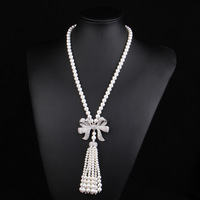 Natural Freshwater Shell Pearl Necklace For Women 80cm Long White Pearl 7MM Beads Crystal Bowknot Pendant Necklaces Jewelry Gift