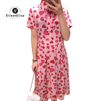 Розовое платье с принтом женское Элегантное Длинное Платье женское повседневное с коротким рукавом шелковые платья лето