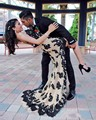 2017 Fashion Black and Champagne Lace Sexy Strapless Appliques Asymmetrical Chiffon Formal Prom Gowns Evening Dresses