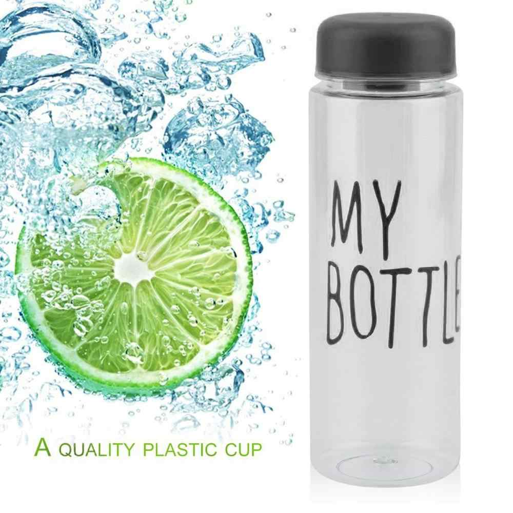 500ML Portable Size Transparent Sport Cycling Running Travel Water Bottle High Capacity Simple Design Summer Lemon Juice Bottle