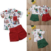 Brand NEW Christmas Clothes Set Toddler Baby Boys Clothing T Shirt Blouse Top + Shorts Summer Beach Outfits