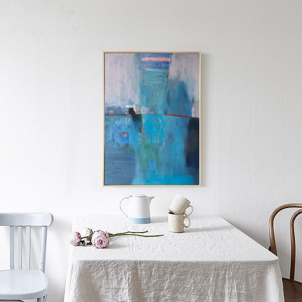 MUYA turquoise paintings abstract oil paintings for living room wall ...