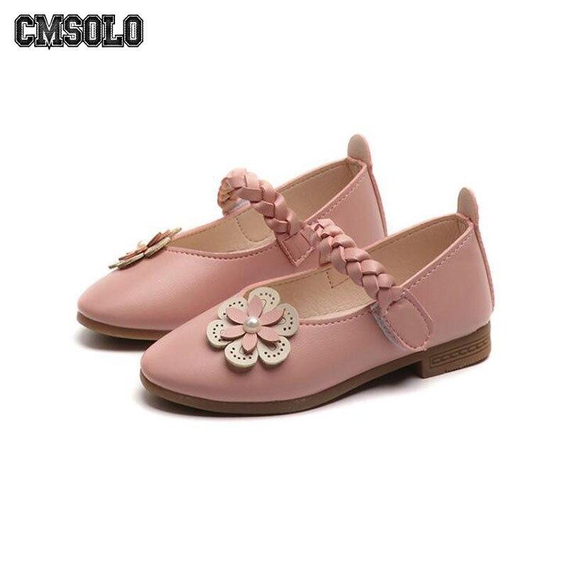CMSOLO Girls Shoe Flower Leather Shoes For Girls Beige Pink Children Footwear Female Kids Dancing Princess Kids Size 26-35 2018