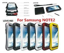 LOVE MEI For Samsung Galaxy note II N7100 Original Powerful Shockproof Dirtproof Waterproof Metal phone Case + Gorilla glass