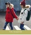 2016 детские пуховики мальчики и девочки длинные участки утолщение теплые пальто дети новый Надьямарош воротник зимняя куртка