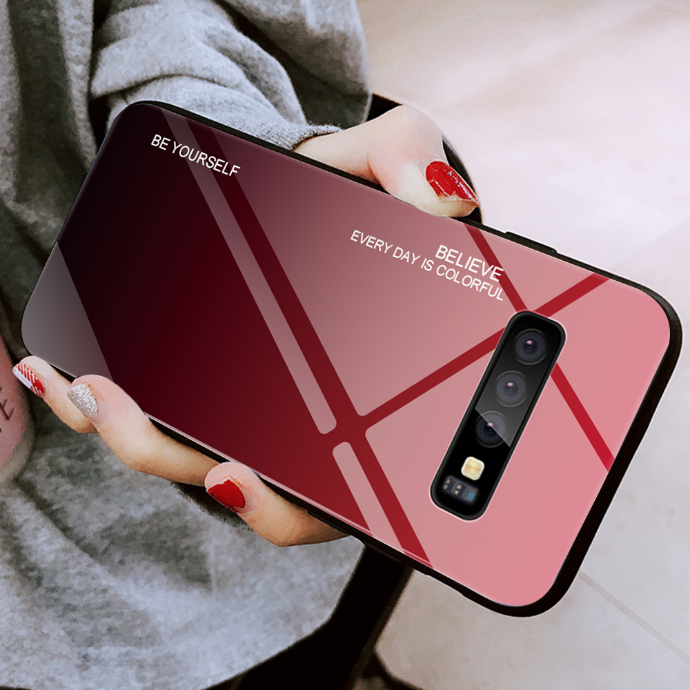 For Samsung Galaxy S10 Plus S10 Lite Case Gradient Tempered Glass Phone Cases For Samsung S10 S9 S8 Plus Note 9 Note 8 Cover     (4)