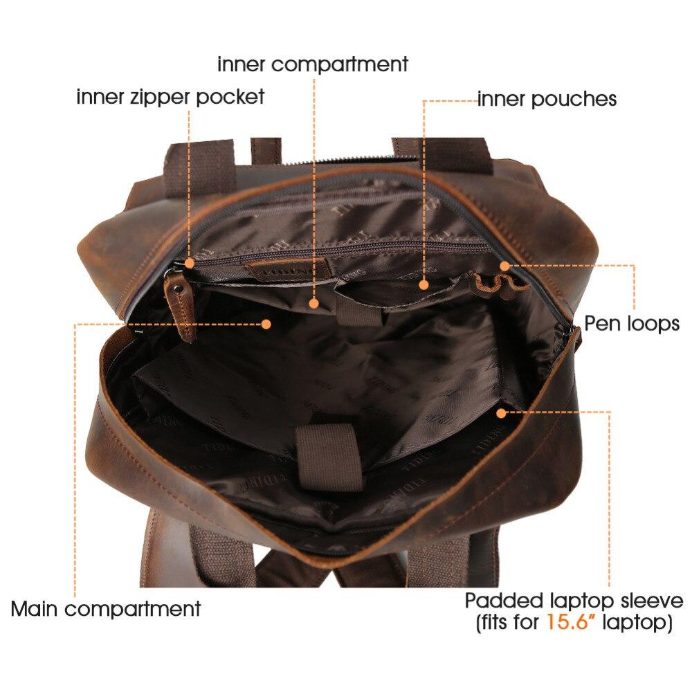 TIDING Weekender сумка большие кожаные рюкзаки Повседневная стильная дорожная сумка коричневая прочная 3583FS - 6