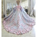 Принцесса Бальное платье Свадебное Платье 2016 Розовый Аппликация Спинки Long Train Свадебные Платья Плюс Размер vestidos де novia Свадебные Платья