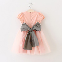 3 To 8 Years Children Girls Fashion Summer Big Bow Princess Tulle Party Dresses Kids Formal