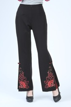 Free Shipping!Big Discount!Chinese Polyester Hand-Made Painted Women's Elastic Waist Trousers Flares Peony 2991-3