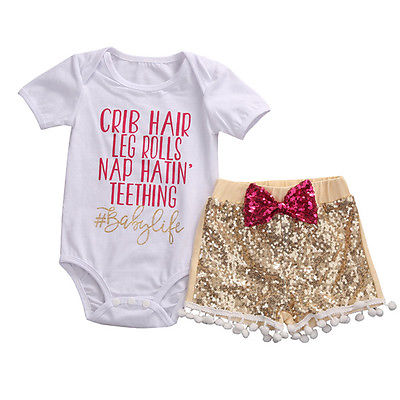 Cotton Kids Baby Girls Summer Short Sleeve Tops crib hair Romper Sequin Gloden Pants Outfits 3Pcs Set Girls Clothes