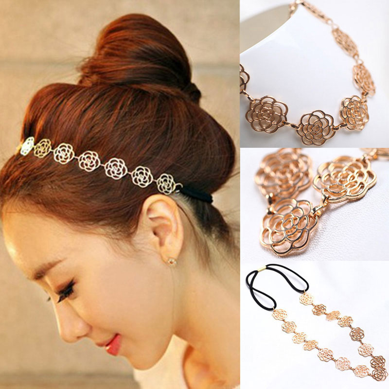 1pcs Women's Fashion Metal Chain Jewelry Hollow Rose Flower Elastic Girl   Headwear   Flower Headband Hair Bands Hair Ring Jewelry