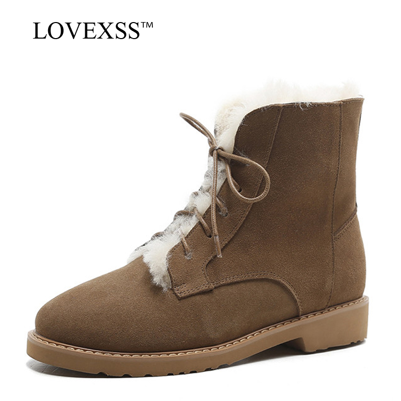 LOVEXSS Woman Winter Wool Snow Boots Fashion Black Brown Lace Up Ankle Boots Warm Genuine Leather Shearling Martin Boots 2018
