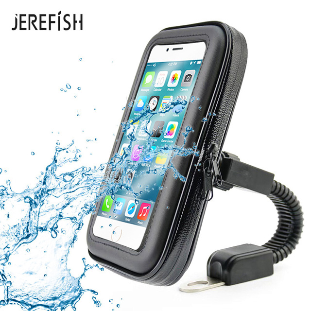 JEREFISH Universal Bicycle Motorcycle MTB Bike Phone Holder Waterproof Bag Case Handlebar Mount Holder for iPhone Samsung