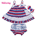4th of july outfit For Baby Girl Suspender Swing Top Set Dress And Newborn Bloomers Outfits 0-2Years 2016 Free Shipping