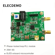 HMC830 Module phase-locked loop PLL module 25M-3G with OLED onboard microcontroller RF signal source serial port adf4350 adf4351 pll pll rf signal source frequency synthesizer