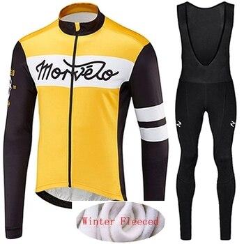 Morvelo-Conjunto de manga larga y forro polar térmico, maillot de ciclismo para...