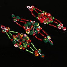 Ethnic style fabric flower bracelet hand-woven embroidery pouch bead