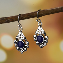 Vintage Korean Flower Water Drop Crystal Long purple stone Earrings for Women Hanging Dangle Jewelry Brincos