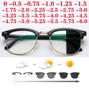 Diopter SPH 0 -0.5 -1 -1.5 -2 -2.5 -3 -3.5 -4 -4.5 -5 -5.5 -6.0 Anti Blue light Photochromic Finished Myopia Glasses(China)