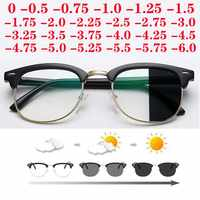 Dioptrías SPH 0-0,5-1-1,5-2-2,5-3-3,5-4-4,5-5-5,5-6,0 Anti-Luz Azul fotocromáticos gafas graduadas para Miopía