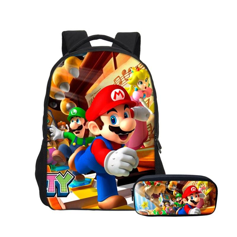 Hynes Eagle School Bag Fashion Super Mario Printing Backpack Children  Shoulder Bag Boys Cartoon Canvas Backpack Rucksack Mochila 2a1942ada7514