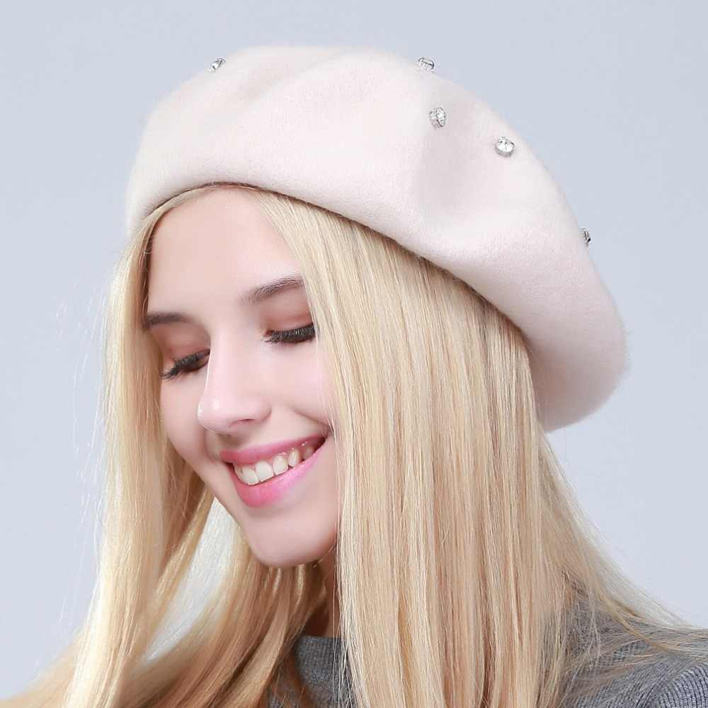 2a681ea63cab6 ... Geebro Women s Beret Hat Fashion Solid Color Wool Knitted Berets With Rhinestones  Ladies French Artist Beanie ...