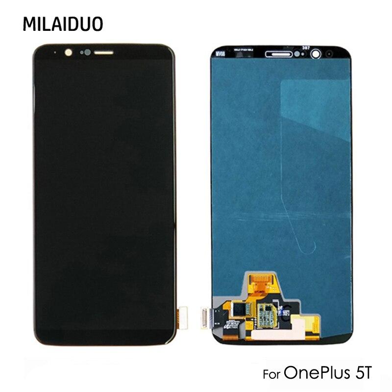 AAA + Qualité OEM OLED AMOLED LCD Affichage à L'écran Tactile Digitizer Assemblée Remplacement Pour OnePlus 5 T A5010 Réparation Parits