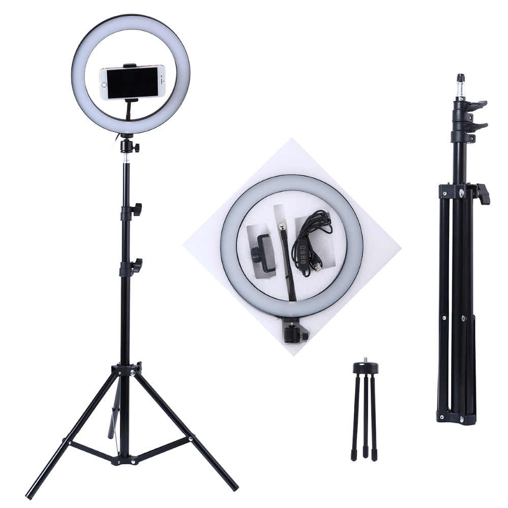 Photography LED Selfie Ring Light 10inch Metal Dimmable Camera Phone Ring Lamp With Stand Tripods For Makeup Video Live Studio