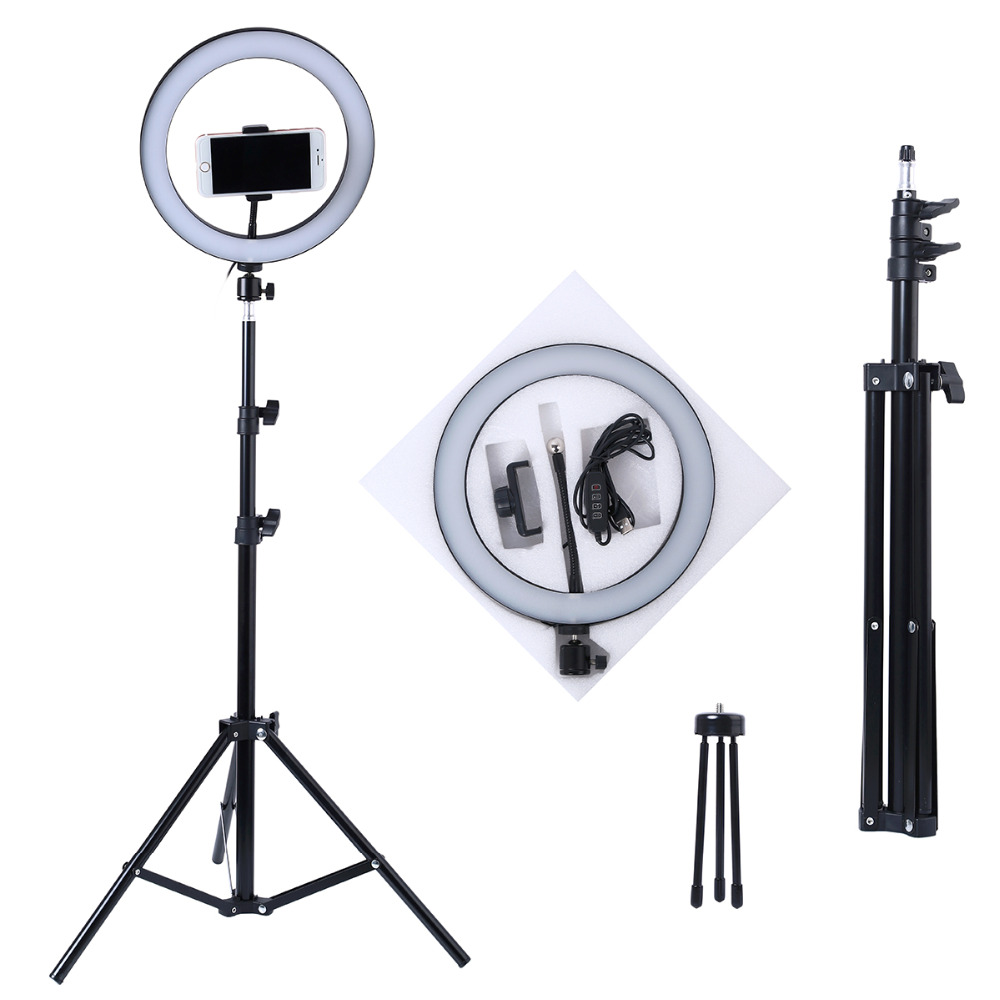 Selfie-Ring Stand-Tripods Phone-Ring-Lamp Dimmable-Camera Makeup Video Light-10inch Photography Led title=