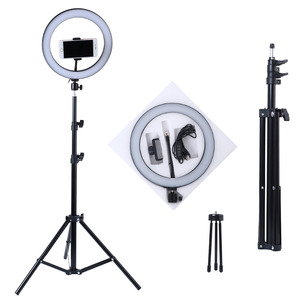 Photography LED Selfie Ring Light 10inch Metal Dimmable Camera Phone Ring Lamp With Stand Tripods For Makeup Video Live Studio(China)