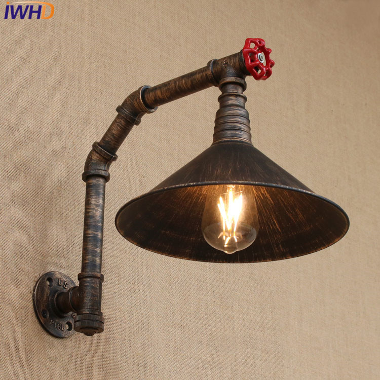 IWHD Industrial Style Loft American country Iron Retro Water Pipe Wall lamps Vintage Industrial Lighting Wall Light Switch 220v цена 2017