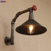 IWHD Industrial Style Loft American country Iron Retro Water Pipe Wall lamps Vintage Industrial Lighting Wall Light Switch 220v
