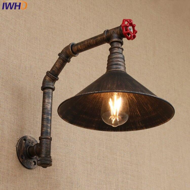 IWHD Style Industriel Loft pays D'amérique Fer Rétro Paroi de la Conduite D'eau lampes Vintage Éclairage Industriel Mur Interrupteur 220 v