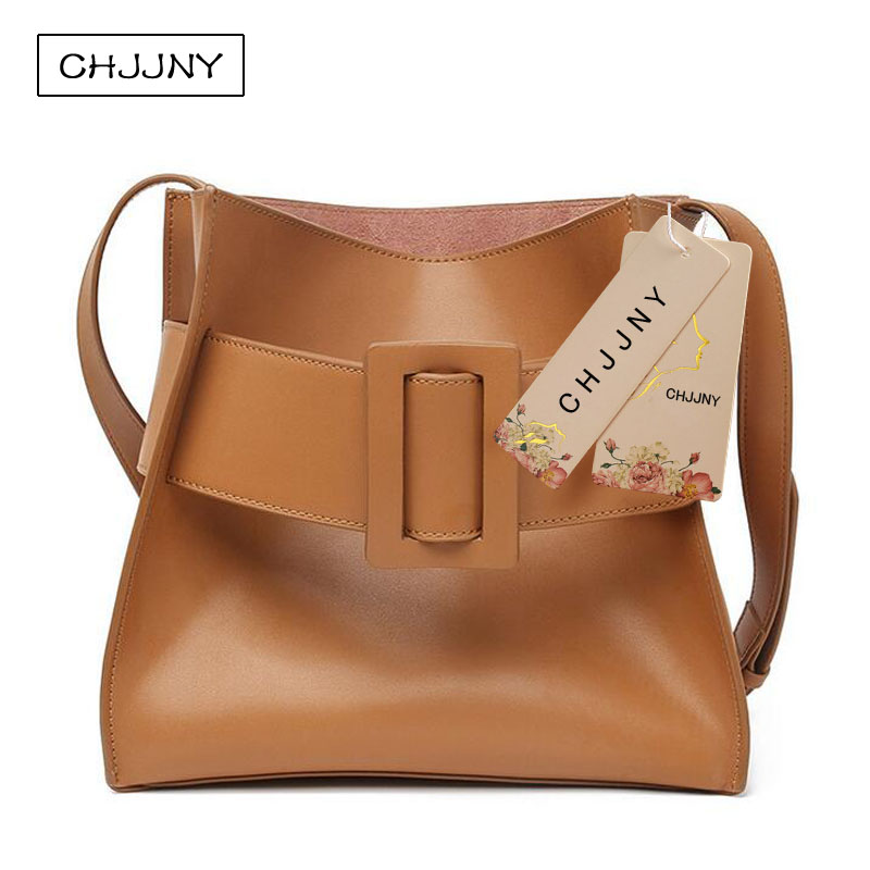 CHJJNY 2017 newest fashion simple style genuine leather women big buckle hand bags with inner bag