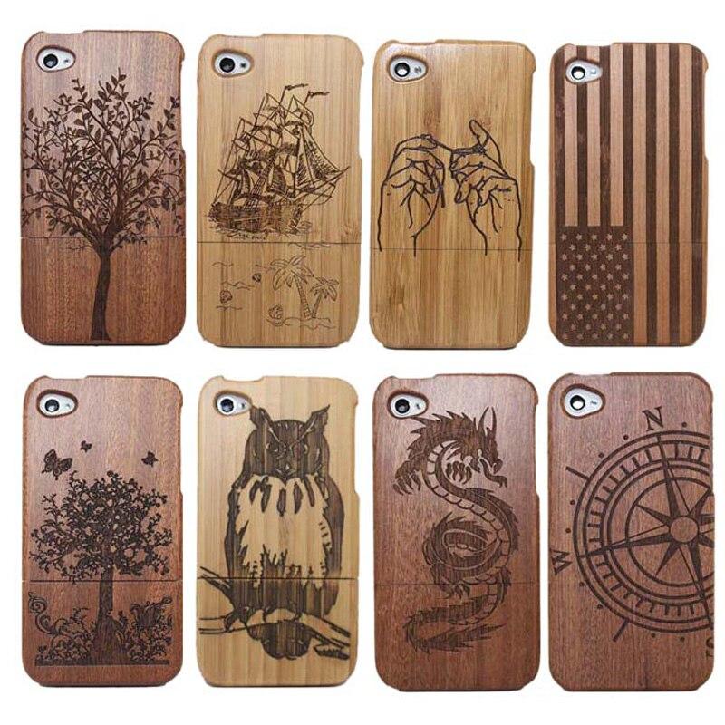 bilder für Traditionellen Bambus Skulptur Holz telefon Fall Abdeckungen Für iphone 4 4G 4 S 5 5 s 6 6 s 6 plus baum/schiff/eule/nationalflagge telefon fällen